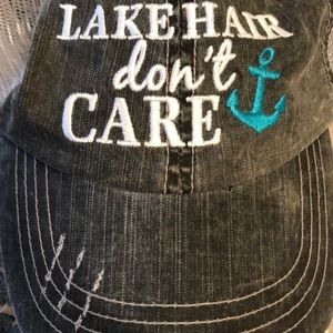 Lake Hair don't care ball cap (Gray/white/teal)